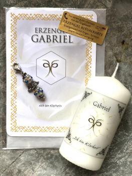 1 Set: Ritualkarte + Engelanhänger + Erzengelkerze Gabriel (Engelalm)