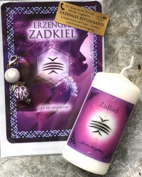 1 Set: Ritualkarte + Engelanhänger + Erzengelkerze Zadkiel (Engelalm)