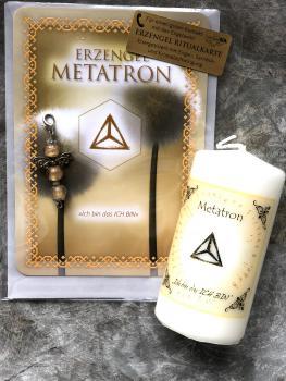 1 Set: Ritualkarte + Engelanhänger + Erzengelkerze Metatron (Engelalm)