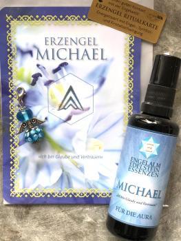 1 Set: Ritualkarte + Engelanhänger + Auraspray Erzengel Michael